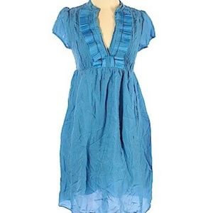 Ted Baker 100% Silk Dress Ruffle Front Blue Small